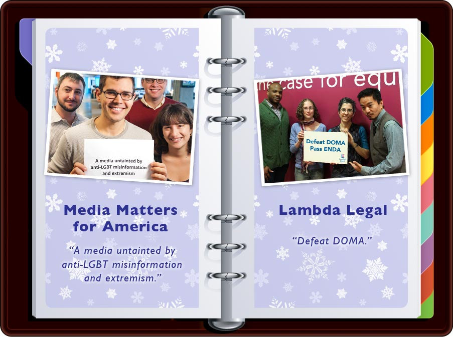 """Media Matters: """"A media untainted by anti-LGBTQ misinformation and extremism"""" / Lambda Legal: """"Defeat DOMA Pass ENDA"""""""