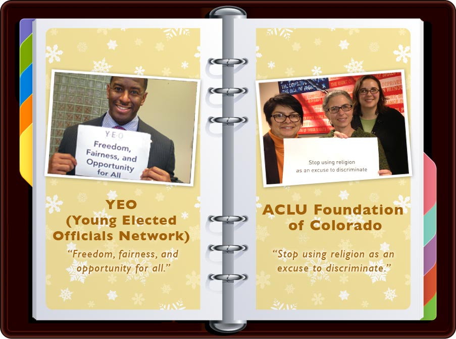 """Young Elected Officials Network: """"Freedom, Fairness, and Opportunity for All"""" / ACLU: """"Stop using religion as an excuse to discriminate."""""""