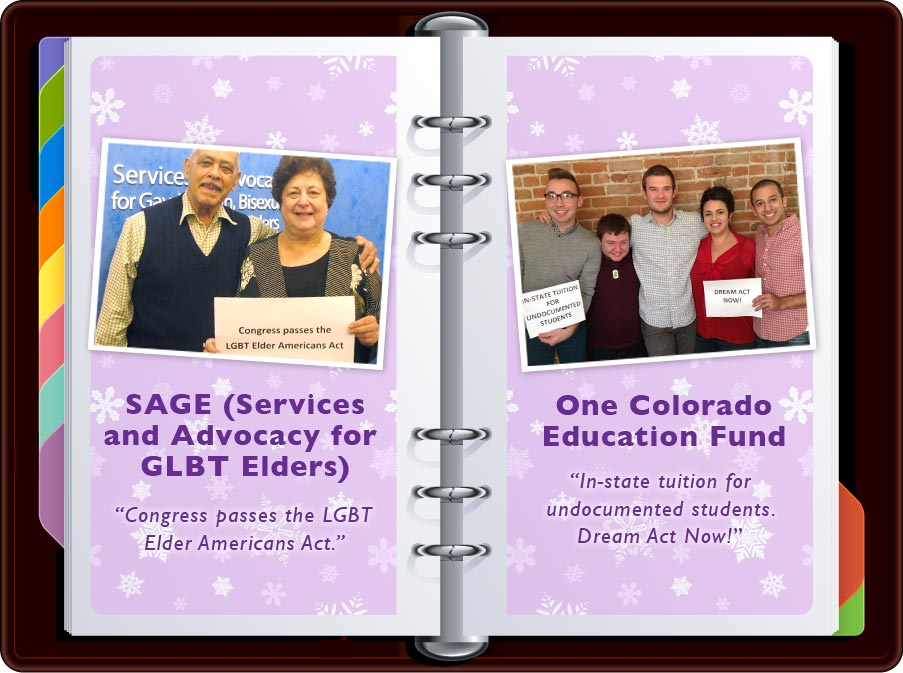"""SAGE: """"Congress passes the LGBTQ Elder Americans Act"""" / One Colorado Education Fund: """"In-state tuition for undocumented students. Dream Act Now!"""""""